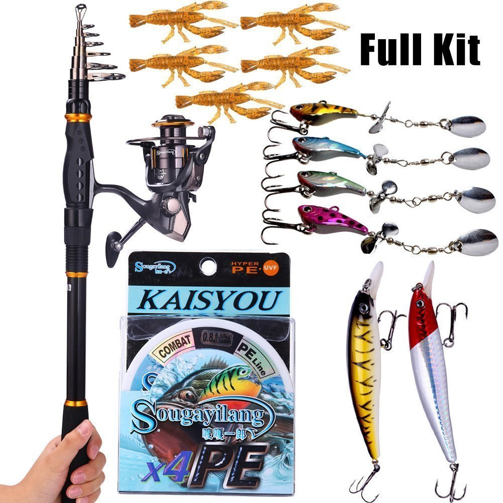Sougayilang Carbon Telescopic Fishing Rod Pole with Spinning Reel Line Rod Kit