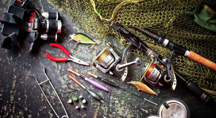 Various fishing tools set on a table