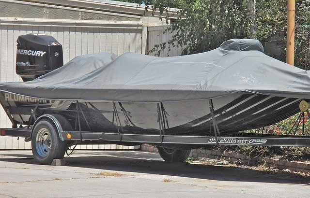 boat on trailer with cover